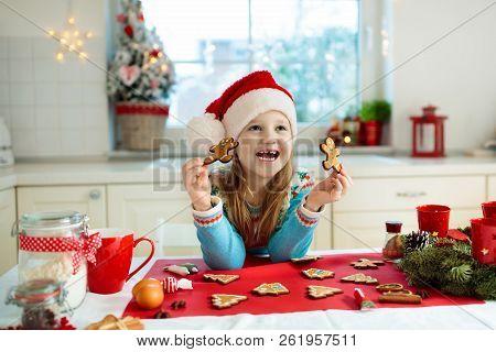 Kids Bake Christmas Cookies. Child Cook For Xmas.