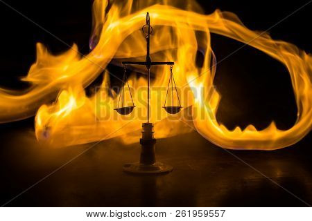 Justice Scale With Dark Toned Foggy Background. Justice Concept. Scale Is Symbol Of Justice