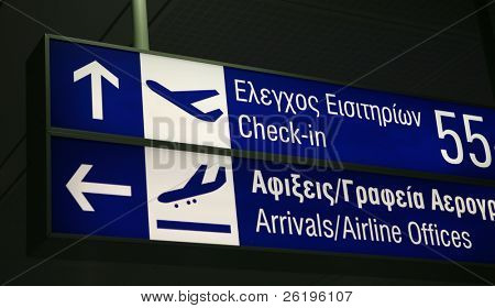 A sign board for check-in desks and the arrivals lounge, in English and Greek, at Eleftherios Venizelos international Airport, Athens poster