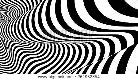 Optical Illusion Lines Background. Abstract 3d Black And White Illusions. Conceptual Design Of Optic
