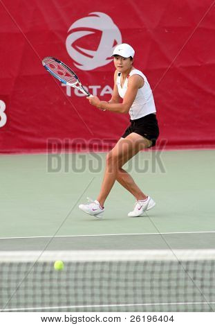China's Zi Yan in action at the Qatar Total Open, February 20, 2008, against Russian Dinara Safina.