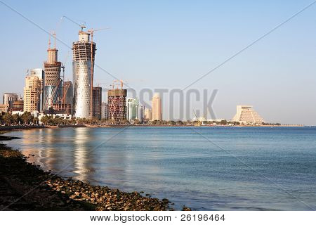 The development of the high-rise area overlooking the Corniche and Doha Bay in Doha, Qatar, February 28, 2008