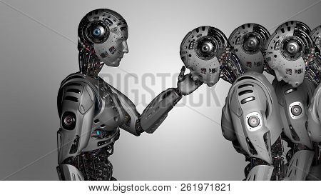 3d Render Very Detailed Futuristic Robot Man Touching The Head Of Another Robot On Gray Background