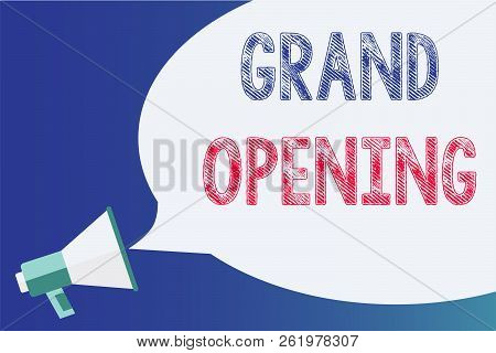 Text Sign Showing Grand Opening. Conceptual Photo Ribbon Cutting New Business First Official Day Lau