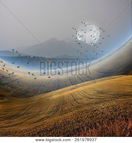 Peaceful Landscape with Mountain, Full moon and butterflies. 3D rendering