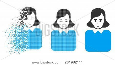 Bureaucrat Woman Icon With Face In Sparkle, Pixelated Halftone And Undamaged Entire Versions. Fragme