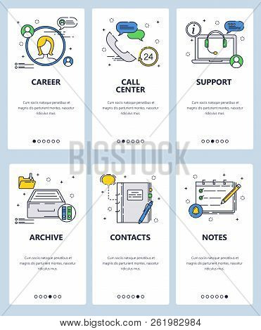 Vector Web Site Linear Art Onboarding Screens Template. Career, Support Call Center Icons. Menu Bann