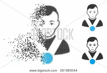 Champion Icon With Face In Dispersed, Dotted Halftone And Undamaged Solid Versions. Fragments Are Co