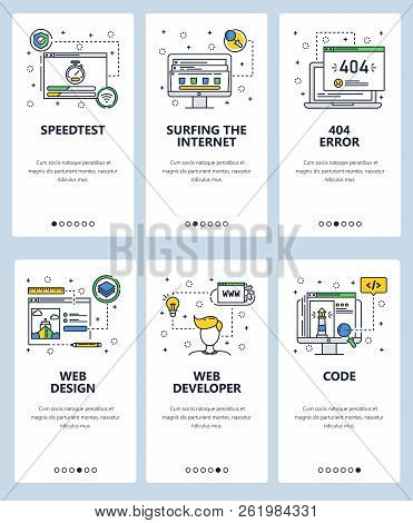 Vector Web Site Linear Art Onboarding Screens Template. Internet Web Sites Code And Development. Men