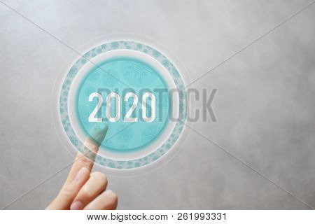 2020 - Finger Pressing Round Transparent Button With Illustrated Snowflakes Pattern On Virtual Touch
