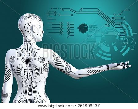 3d Rendering Of A Robot Woman Standing With Its Back Agianst The Camera, Holding Her Arm Out. Futuri