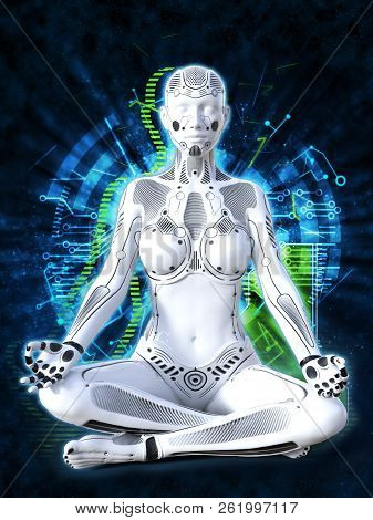 3d Rendering Of A Robot Woman Sitting In Space And Meditating With Her Eyes Closed. Futuristic Digit