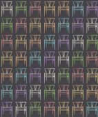 Pastel colored chairs texture background, tileable, on gray background, furniture concept idea, interior design, 3d illustation poster