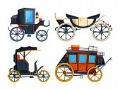Retro transport carriage. Vector pictures of carriages. Collection of retro cart, chariot victorian illustration poster