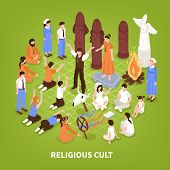 Isometric religious cult background composition of human characters of people practising different religions and fringe groups vector illustration poster