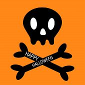 Happy Halloween. Skull with bone crosswise icon shape. White crossbones. Skeleton body part sign symbol. Cute cartoon simple character Pirate flag element Orange background Isolated Flat design Vector poster