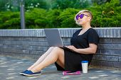 Student girl plus size passed exams on laptop, entered the university, work. Woman gets acquaintance, training through the Internet, online correspondence, communication, unknown interlocutor, courses poster