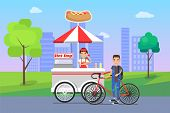 Hot dog seller and customer, bicyclist man buying food, snacks on shopping stall, street snack at cityscape vector illustration hot-dog shop outdoors poster