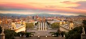 Magic Fountain in Barcelona and statue in palace in Barcelona city, spain poster