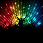 EPS10 Party People Vector Background - Dancing Young People poster