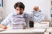 Overloaded busy employee with too much work and paperwork poster