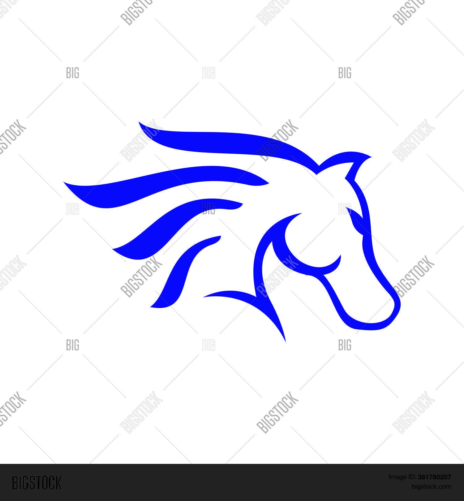 Blue Horse Head Logo Vector Photo Free Trial Bigstock