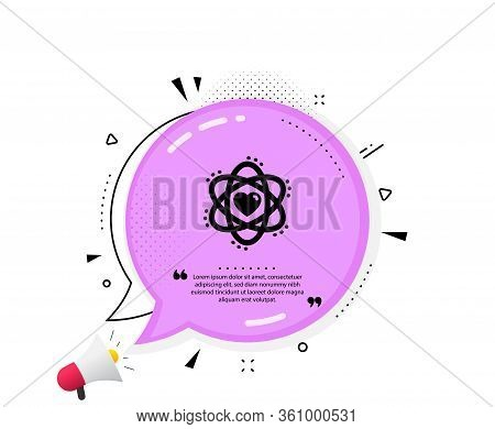Atom With Heart Icon. Quote Speech Bubble. Energy Sign. Chemical Element Symbol. Quotation Marks. Cl