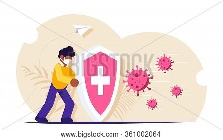 People With A Shield Is Protected From A Virus Attack. Wearing A Bactericide Mask As A Precaution Ag