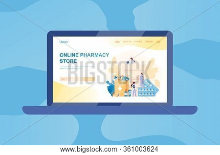 Online Pharmacy Web Banner On Computer Or Laptop. Medicine