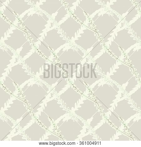Abstract Fern Leaves Vector Seamless Pattern Background. Forest Plant Frond Diagonal Weave Style Gri