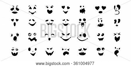 Scary And Funny Faces Flat Cartoon Set. Halloween Collection Cute And Ghostly Monsters, Pumpkin Or G
