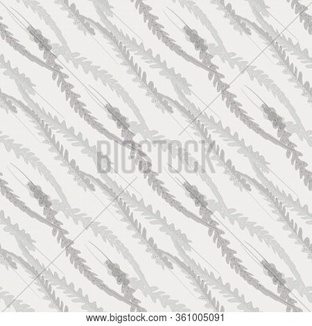 Abstract Fern Leaves Vector Seamless Pattern Background. Forest Plant Frond Diagonal Chainlink Style