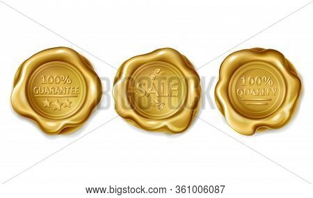 Collection Of Wax Seals With Embossed Guarantee, Quality, Sale On Gold Badges. Golden Stamp Illustra