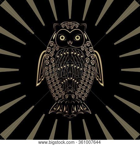 Owl In Gold Design On Black Background With Transparent Rays In Circle Composition, Mysterious Birs,