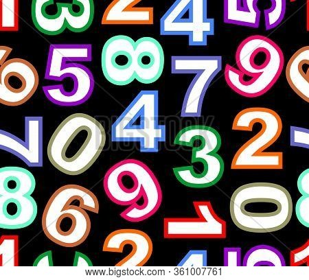 Seamless Pattern With Colored Distinctive Digits On Black Background, Irregularly Spaced Digits, Fab