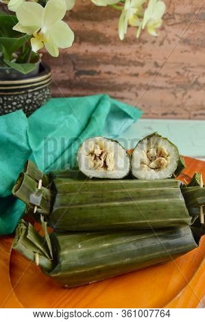 Lemper Ayam, Indonesian Snack Made Of Glutinous Rice Filled With Seasoned Shredded Chicken Wrapped I