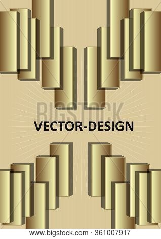 Gold 3d Design, Leaflet Or Cover Template With 3d Golden Rectangle Composition, Embossed Ornament. E