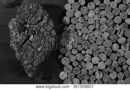 A Piece Of Cork Wood. Background Texture Of Cork From The Cork Tree