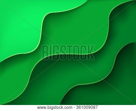 Green Background With Layers And Shadow Cut Out Of Paper Style. Vector Illustration.