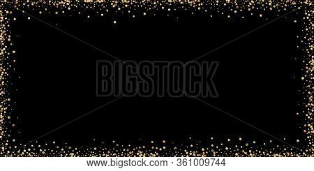 Gold Confetti Luxury Sparkling Confetti. Scattered Small Gold Particles On Black Background. Bold Fe