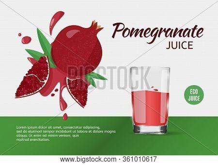 Design Template For Ads Of Pomegranate Juice On Grey Background. Vector Illustration Of Fruit Pomegr