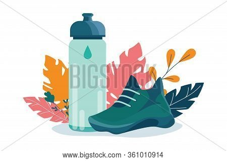 Healthy Lifestyle Concept. Sport Sneakers And Sport Bottle. Fitness