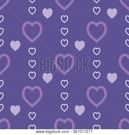 Seamless Pattern With Exquisite Light Violet Hearts On Dark Violet Background For Plaid, Fabric, Tex