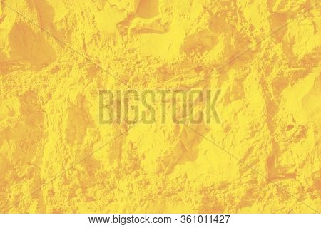 Wall Sandstone Texture Background. Yellow Surface, Stone Vintage Texture. Voluminous Background, Ton