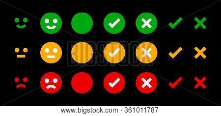 Icon Emotions Face, Emotional Symbol And Approval Check Sign Button, Emotions Faces And Checkmark X
