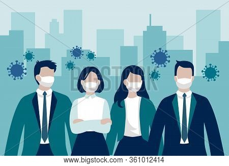Vector Group Of Business Workers Or Enterpreneurs Wearing Protective Face Masks Standing In Front Of