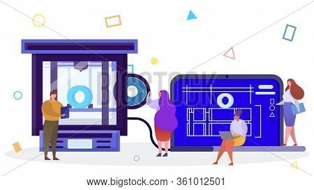 3d Printing Technology In Flat Style Vector Illustration. Spool Of Thread For 3d Printing. An Engine