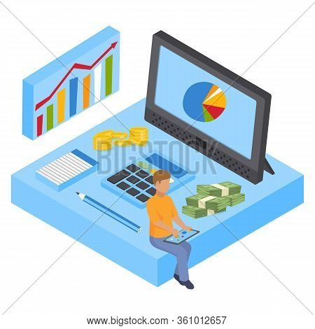Analyst Calculates Budget, Analyzes Data Vector Isometric Illustration. Male Analyst Sitting With Ta