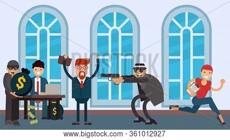 Bank Robbery, Criminals In Hats And Glasses Threaten With A Pistol Vector Flat Illustration. Two Rob
