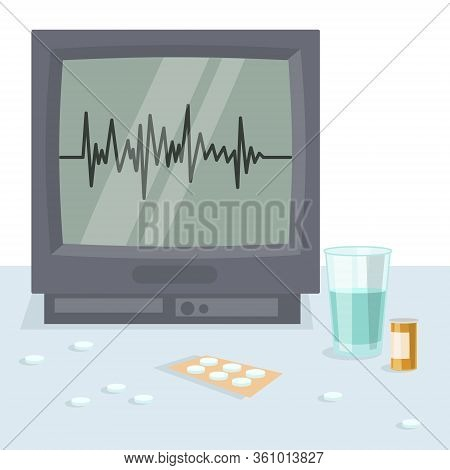 Medical Heart Monitor And Therapeutic Drug, Flat Vector Illustration. Monitoring Heart Rate, Hospita